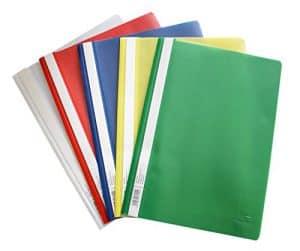 Schnellhefter A4, aus Kunststoff, 20 Stück, 5 Farben, 4 x blau/weiß/gelb/grün/rot