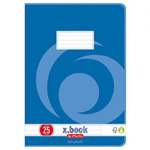 Herlitz Heft A4, Lineatur 25, holzfreies Papier, liniert mit Rand, 3-er Packung, 80 g/m², 16 Blatt, weiß