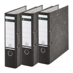 Leitz 310305095 Qualitäts-Ordner 180A (Mit Schlitzen, A4, Breit) 3 Stück schwarz