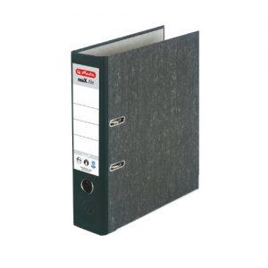 Herlitz 11012846 Ordner maX.file nature A4 8cm, Wolkenmarmorbezug/Papier grau, 5er Pack, Farbe schwarz