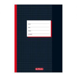 Herlitz 331223 Schulheft A4, kariert mit Rand, Lineatur 26, 20 Blatt, schwarz 10er Packung