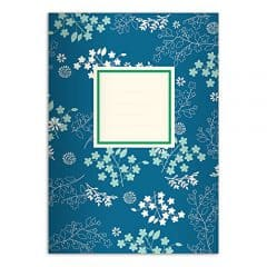 2 florale DIN A4 Schulhefte, Rechenhefte, blau Lineatur 7 (kariertes Heft)
