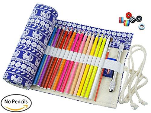 Cre-go Federmappe Schlamperrolle Mäppchen Bleistiftkasten für 48 farbige stifte (anmerkung:keine Farbstifte)-Retro elephant