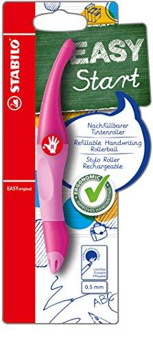 STABILO EASYoriginal inkl. 1 Nachfüllpatrone - ergonomischer Tintenroller für Rechtshänder - Schreibfarbe blau (löschbar) - Einzelstift hell-/dunkelpink