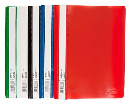 Idena 307863 - Schnellhefter A5, aus Kunststoff, 10 Stück, 5 Farben, 2 x blau/weiß/gelb/grün/rot