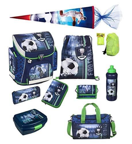 Fußball Schulranzen Set 10tlg. Sporttasche, Schultüte 85cm, Federmappe, Regen/Sicherheitshülle gelb Scooli FCPR8251