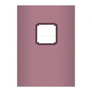 4 Retro DIN A5 Schulhefte, Schreibhefte mit Algen Muster in alt rot Lineatur 4 (liniertes Heft)