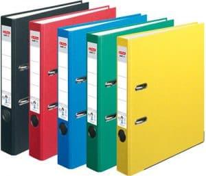 HERLITZ Ordner maX.file nature+ A4 5cm | Kraftpapierbezug selbstklebendes Rückenschild | 5er Sparpack in diversen Farben zur Auswahl (Sortiert Grundfarben)