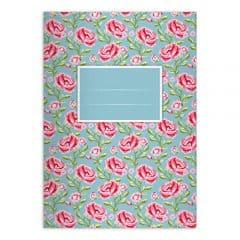 4 Tolle Shabby Chic Rosen Notizheft DIN A4 Schulhefte, Schreibhefte mit Streublumen auf hellblau Lineatur 27 (liniertes Heft)